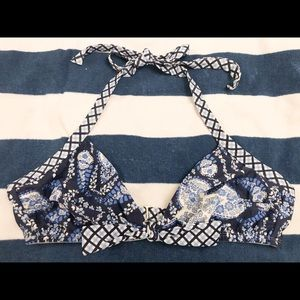 H&M blue and white floral checked bikini top 12